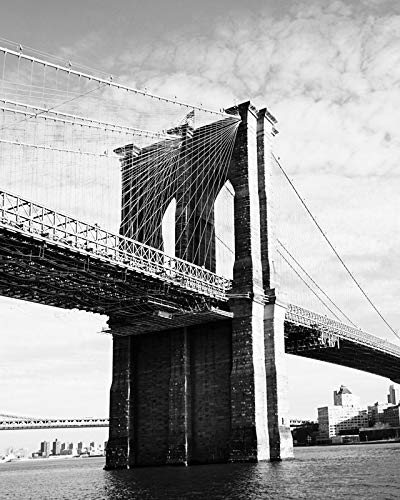 White Photos Black Architectural (Brooklyn Bridge Black and White picture New York City photography 8x10 inch print)