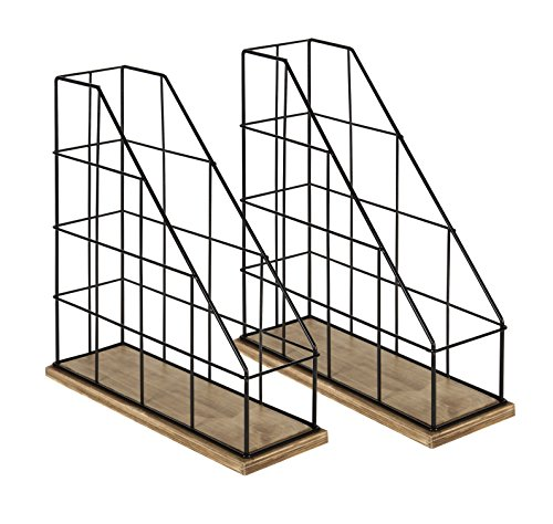 Kate and Laurel Benbrook Metal and Wood Magazine File Holder Desk Organizers, Set of 2, Rustic Wood and Black