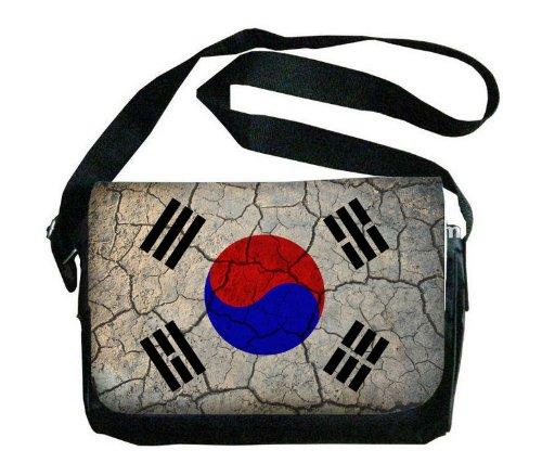 South Korea Flag Crackled Design Messenger Bag