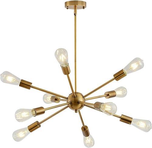 Sputnik Chandelier Lighting Adjustable 10 Light Brushed Brass Finish Modern Pendant Lighting Gold Vintage Modern Ceiling Lamp Fixture for Dining Room