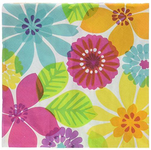 Luau Tableware (Sun-Sational Summer Luau Party Bright Floral Paradise Luncheon Napkins Tableware, Paper, 9