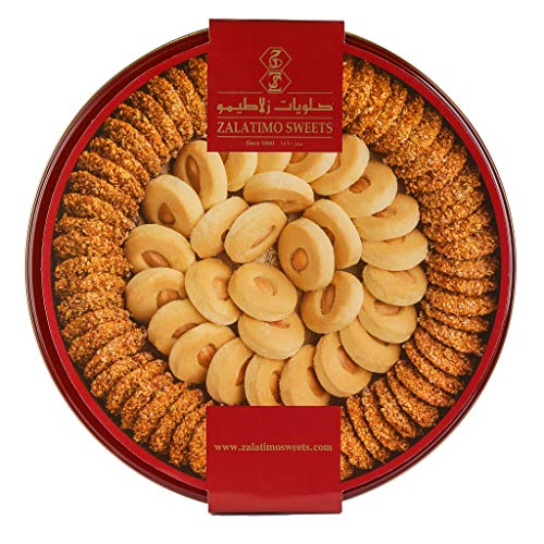 Zalatimo Sweets Since 1860, 100% All-Natural Sesame & Butter Shortbread Cookies, Round Gift Tin, No Preservatives, No Additives, 2.2 LB (Sesame Butter Almond)