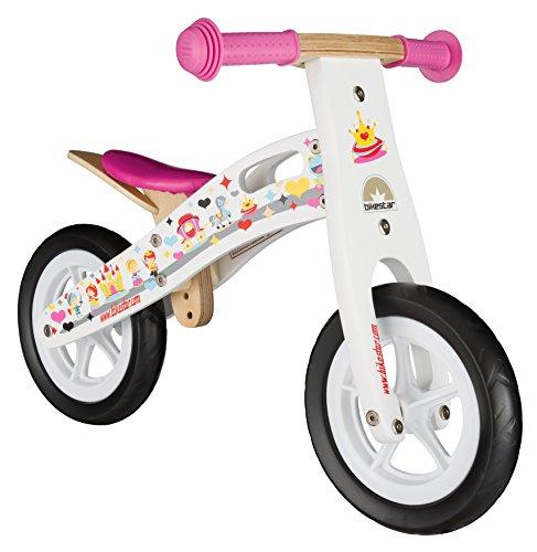 BIKESTAR-254cm-10-pulgadas-Bicicleta-sin-pedales-para-pequeos-aventureros-a-partir-de-2-aos--Edicin-de-madera-natural--Blanco--Diseo-de-la-Princesa
