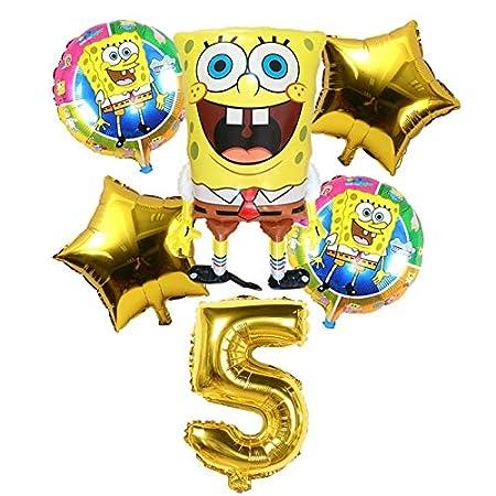 LIZHIOO 6 Unids Globos de Bob Esponja de Cumpleaños 3D Set Suministros de Fiesta Globos Decoración de Bebé Decoración de Fiesta Infantil Globos de Bob ...