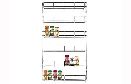 LIVIVO 3 TIER SPICE AND HERB CHROME RACK WITH 12 CLIP TOP GLASS MINI SPICE JARS