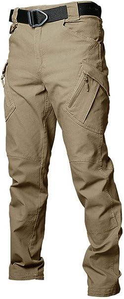 Les umes - Pantalones tácticos para hombre de trabajo de carga para hombre con múltiples bolsillos