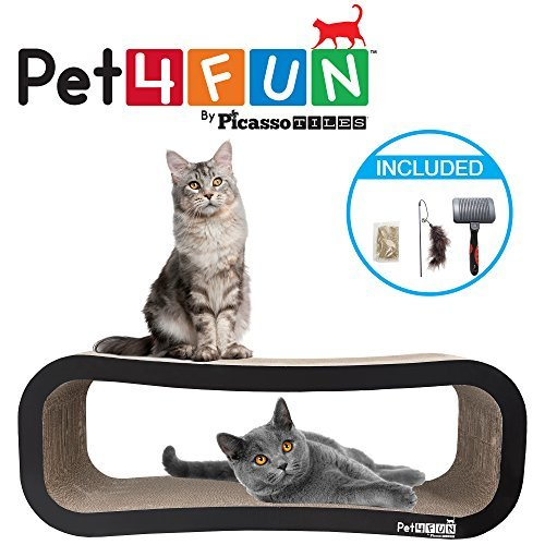 Pet4Fun® PF361 4 in1 Reversible Durable Stylish Cat Scratcher Lounge w/ large space and special teaser holder for scratching, playing, resting, and napping. Teaser, Comb, & Catnip Included (Jumbo Size Version for multiple cats) by Picasso Tiles