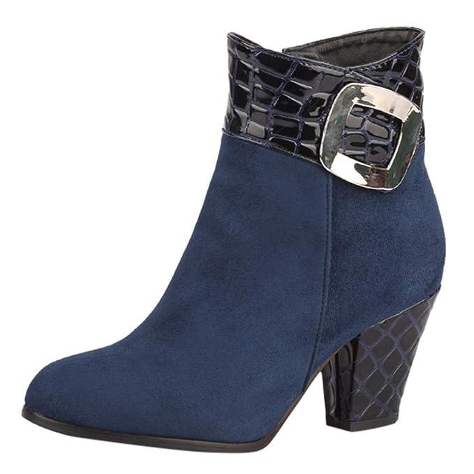 Botines Mujer Invierno tacón Alto Botas Zapatos Planos de Grano para Mujer Cremallera Lateral Martin Botas Hebilla Srap Botas Casual Ante Botas Martin ...
