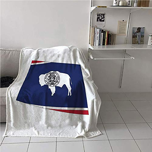 WilliamsDecor Wyoming Portable Blanket,US State Map with Flag Equality State Seal on a Bison Equal Rights,Lightweight Thermal Blankets,Microfiber All Season Blanket 70