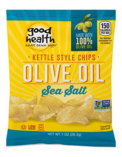 Good Health Kettle Style Potato Chips, Olive Oil & Sea Salt, 1 oz. Bag, 30 Pack - Gluten Free, Crunchy Chips Cooked in 100% Olive Oil, Great for Lunches or Snacking on the Go ()