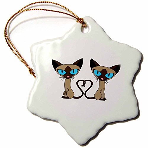 (3dRose orn_110726_1 Siamese Cat Tail Heart-Snowflake Ornament, 3-Inch, Porcelain)