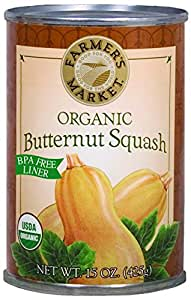 Farmer's Market Organic Canned Butternut Squash Puree, 15 Ounce (Pack of 12)