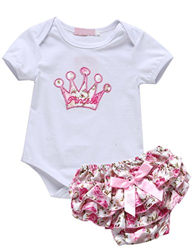 2 Pieces Baby Girls Princess Bodysuit with Skirt Outfit Set (3-6 Months) (Princess Outfit)
