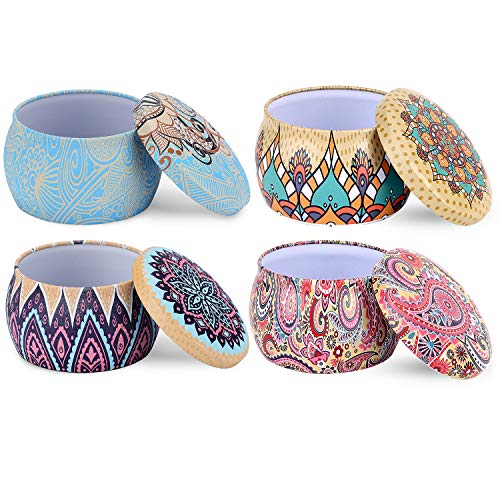 PerHomeAid Medium 6oz DIY Candle Tin Jars, Great Survival Candle Tins (4 Pack), Also Great for Dry Storage, Spices, Camping, Party Favors, and Gifts