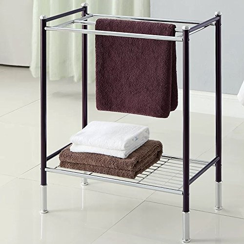 13' Towel Bar (Bathroom Free Standing Towel Rack 3-Bars Shelving Storage Organizer in Bronze/Chrome Finish)