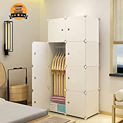 MAGINELS Portable Closet Clothes Wardrobe Bedroom Armoire Storage Organizer with Doors, 5 Cubes & 1 Hanging Section, White