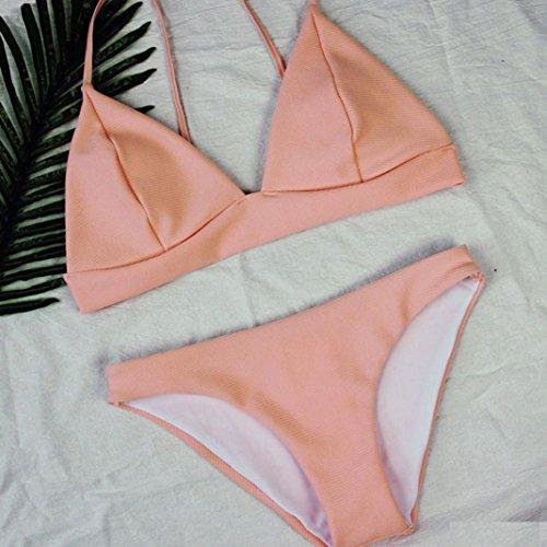 HARRYSTORE 2017 Caliente mujeres rosa tricotar triángulo acolchado bra playa halter bikini conjunto traje de baño Rosa
