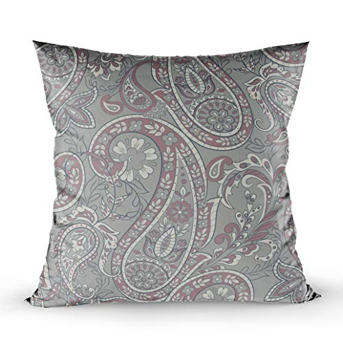 EMMTEEY Decorative Pillows for Couch, 16x16 Pillow Covers Home Throw Pillow Covers for Sofa Floral Ethnic Pattern Ornament Ornamental Motifs of The Fabric Patterns Indian Square Double Sided Printing