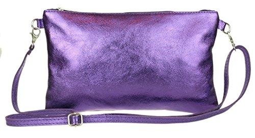 Bag Purple Girly Dark Genuine HandBags Leather Italian Clutch Metallic z8YHzqw
