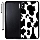 Custom Case Compatible with iPhone Xs MAX (6.5 inch) (Cow Print) Edge-to-Edge Rubber Black Cover Ultra Slim   Lightweight   Includes Stylus Pen by Innosub