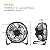 OPOLAR F401 Mini USB Table Desk Personal Fan (Metal Design, Quiet Operation 3.9 USB Cable, High Compatibility), Black