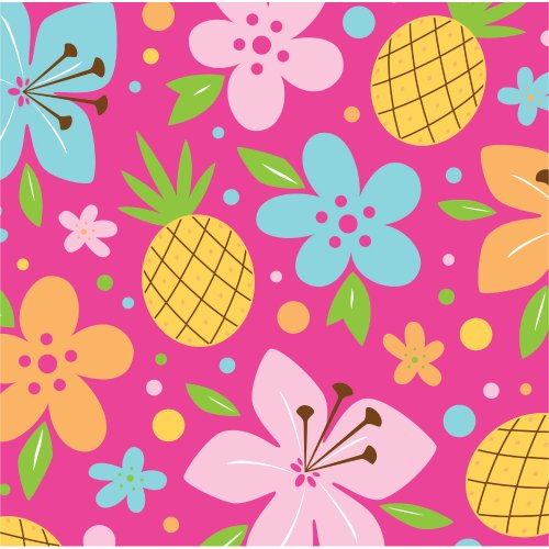 Creative Converting Pink Luau Fun 16 Count 3-Ply Paper Beverage Napkins
