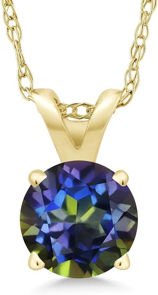14Kt Gold Natural Ecstasy Mystic Topaz /& Diamond Oval Pendant Necklace