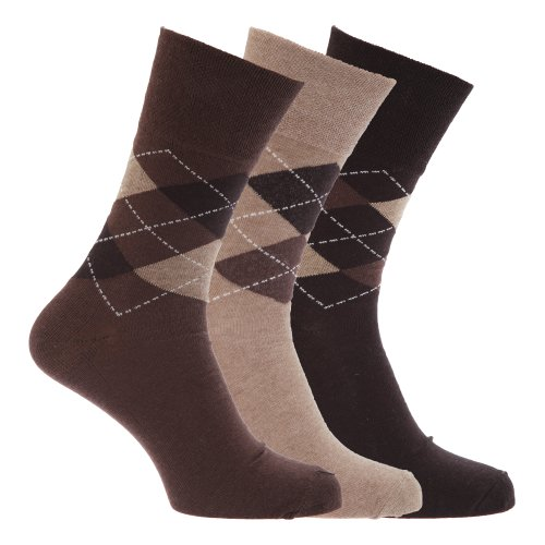 Mens Honeycomb Top Non Elastic Gentle Grip Assorted Socks (Pack Of 3) (US Shoe 13-14) (Brown With ()