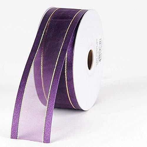3/8'' Colors Royal Organza w/Metallic Gold Satin Edge Ribbon Gift Wrap Arts and Craft 25 Yards 3/8' Satin Edge Organza Ribbon