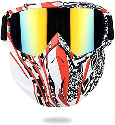 RouYuan Gesichtsmaske, Motorradbrille Maske Abnehmbare Harley Style Schutz Gepolsterte Helm Sonnenbrille Abnehmbare Maske Mundfilter Verstellbarer Riemen Retro Motorradbrille (Farbe : E)