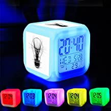 Alarm Clock 7 LED Color Changing Wake Up Bedroom with Data and Temperature Display (Changable Color) Customize the pattern-477.light bulb light pencil abstract