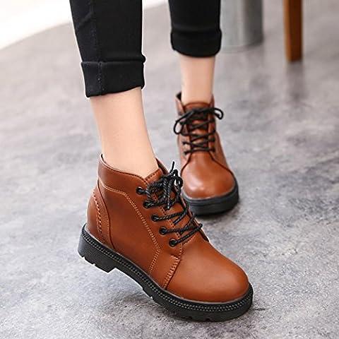 Ecurson Woman Ankle Boots Lace-Up Low Heels Platform Autumn Boot Four Seasons Shoes (6, Brown) (Scrubs Season Four)