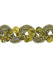 Expo International Reba RIC Rac Sequin Braid Trim Embellishment, 20-Yard, Gold