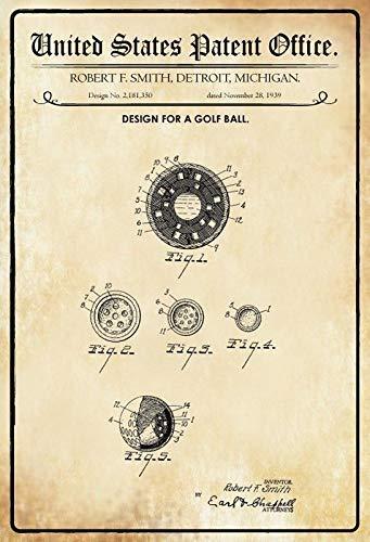 Jeremy Mann US Patent Golf Ball 1939 Metal Tin Sign Custom Metal Sign 12X8in-Bar Cafe Restaurant Home Decor ()