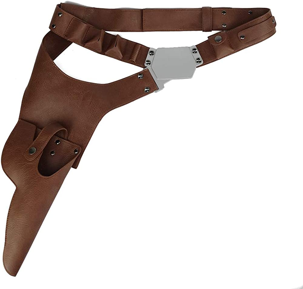 Xcoser Han Solo Belt Cosplay Brown PU Leather Holster Costume Props Accessory