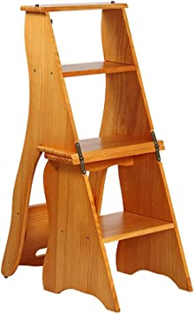 ACZZ Escaleras plegables Escalera plegable Escaleras de madera de 4 peldaños Escalera de escalera multiusos de paso múltiple de paso ligero para loft de la biblioteca doméstica - Capacidad de 300 lb: