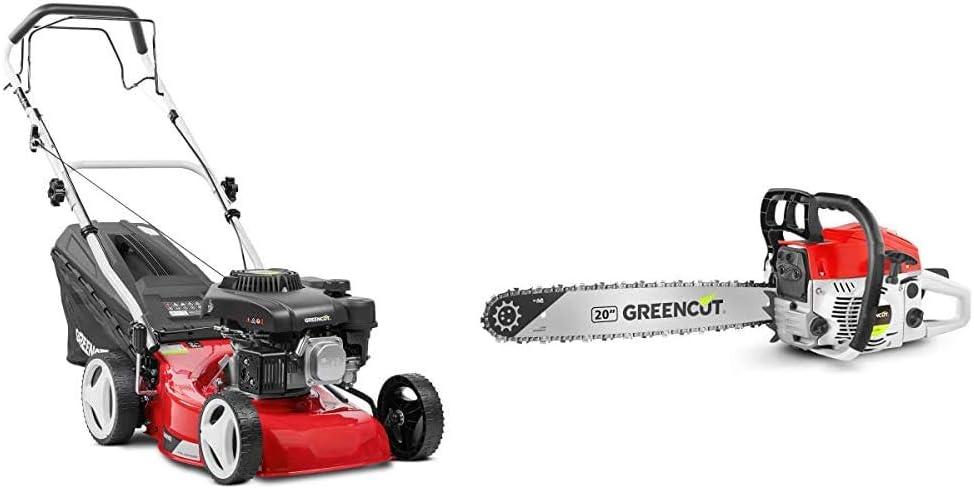 Greencut GLM690SX Cortacésped Autopropulsado, 3000 W, Rojo, 407mm-16 + GS620XMotosierra de Gasolina, 62cc3,8cv, Espada de 20