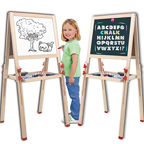 Wondertoys Adjustable Standing Art Easel with Whiteboard and Chalkboard Easels for Kids Drawing Board Toddlers Gifts ()