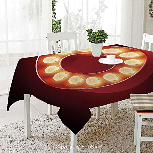 AmaUncle 3D Dinner Print Tablecloths Entertainment World in Vegas Theme Vintage Casino Nightclub Theater Typeset Kitchen Rectangular Table Cover (W60 xL104)