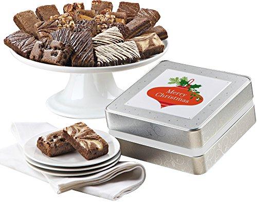 Fairytale Brownies Christmas Keepsake Tin Sprite 24 Gourmet Food Gift Basket Chocolate Tin - 3 Inch x 1.5 Inch Snack-Size Brownies - 24 Pieces (Custom Belgian Chocolate)
