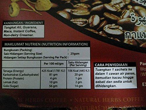 Natural Herb Tongkat Ali Jantan Strongman Coffee.5 x 25 g.