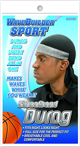 (WaveBuilder Premium Hair Wave Sweatband Durag, Black )