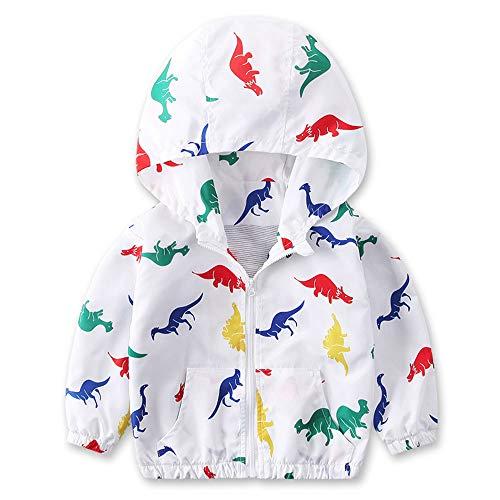 Iuhan  for 1-6Years Boys Girls Dinosaur Coat Hoodie Windbreaker Outerwear Jacket (5-6Years, White)