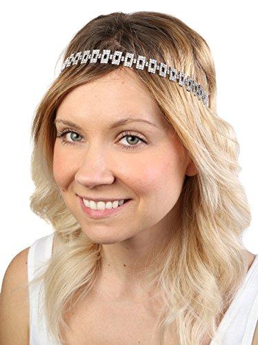 HW-700-01 Rectangle Crystal Link Headband - Silver