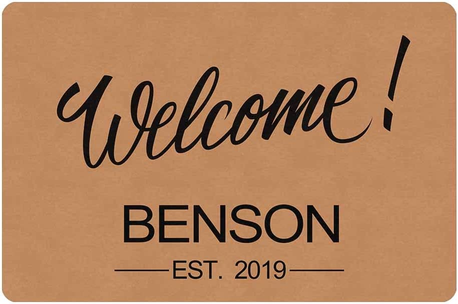 MyPupSocks Personalized Welcome Your Name Doormat 23.6 x 15.7 Inches Entrance Mat Floor Mat Decorative Home Office Welcome Mat