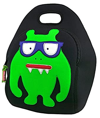 Dabbawalla Bags Monster Geek Kids' Insulated Washable & Eco-Friendly Lunch Bag Black/Lime Green