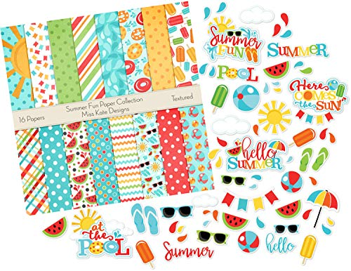 (Die Cuts & Paper Set - Summer Fun - by Miss Kate Cuttables - 16 Single - Sided 12