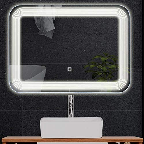home, kitchen, home décor, mirrors,  wall-mounted mirrors 7 image Tangkula LED Lighted Bathroom Mirror, Wall Mounted Rectangle deals
