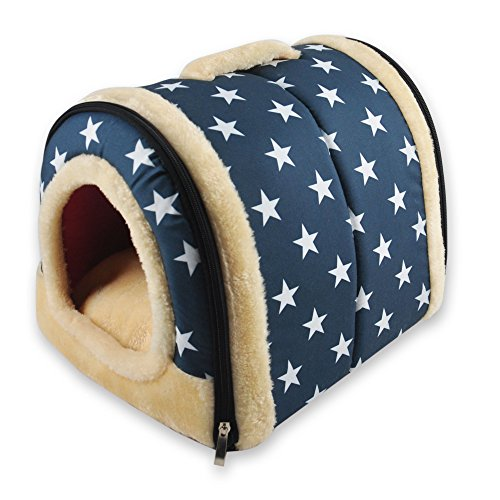 Cheap ANPI 2 In 1 Pet House and Sofa, Machine Washable White Stars Pattern Non-slip Foldable Soft Warm Dog Cat Puppy Rabbit Pet Nest Cave Bed House with Removable Cushion Detachable Cashmere Mattress, Small