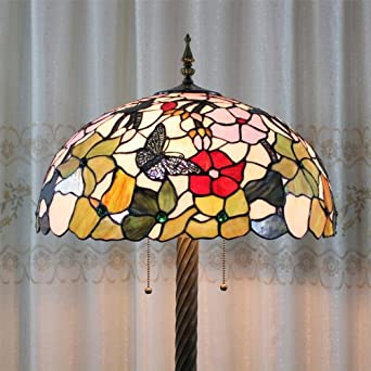 Tiffany 20 Inch European Style Stained Glass Butterfly Flower Floor